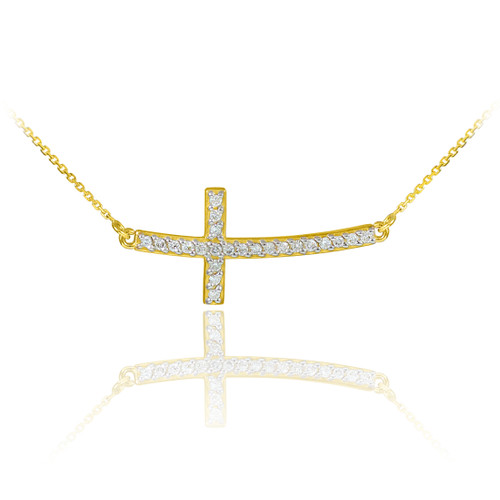 Sideways Curved Cross Necklace: 14K Gold Sideways Curved Cross CZ Pendant Necklace