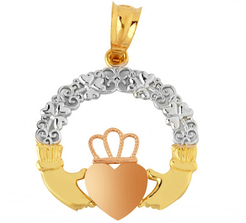 Gold Claddagh Pendant Yellow Pink