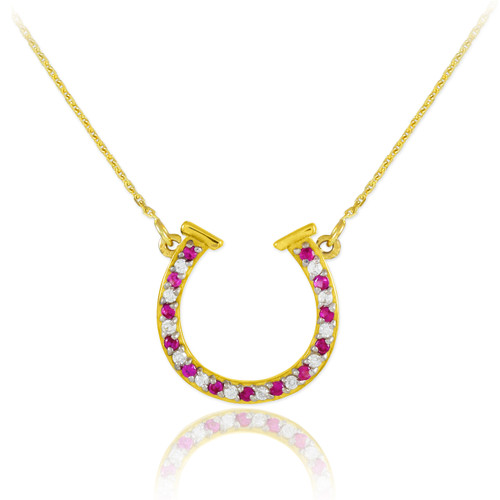 14K Gold Clear & Red CZ Horseshoe Necklace