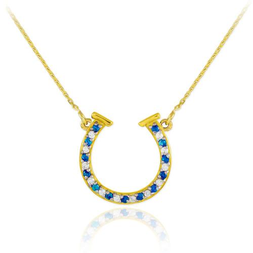 14K Gold Clear & Blue CZ Horseshoe Necklace