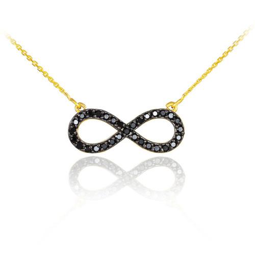 14K Gold Black Diamond Infinity Necklace