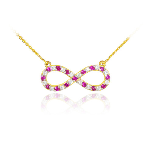 14K Gold Clear & Red CZ Infinity Necklace