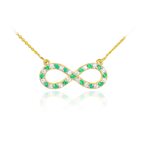 14K Gold Diamond and Emerald Infinity Necklace