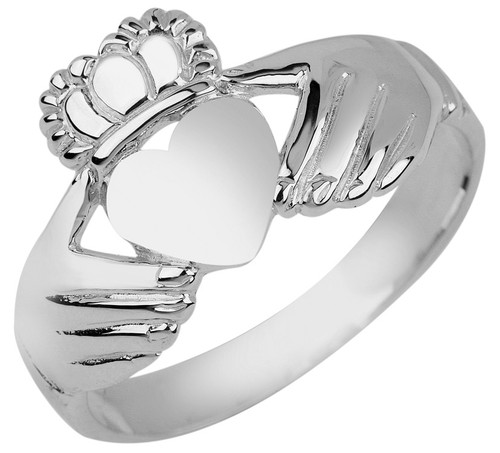 White Gold Irish Claddagh Ring Ladies.  Available in 14k and 10k.