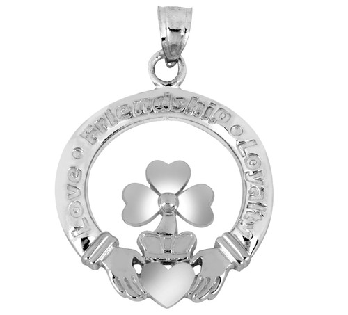 White Gold Claddagh Clover Pendant