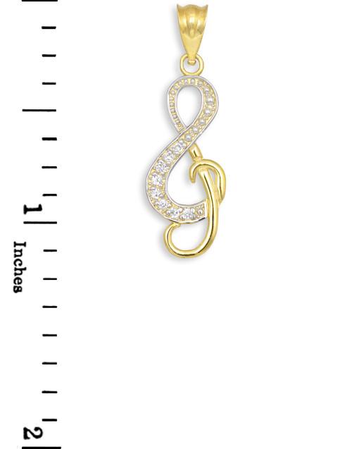 Diamond Studded Gold Treble Clef Music Charm Pendant
