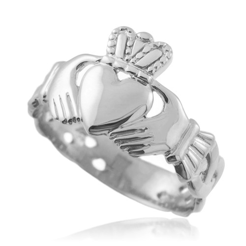 Mens Claddagh Trinity Band in Silver