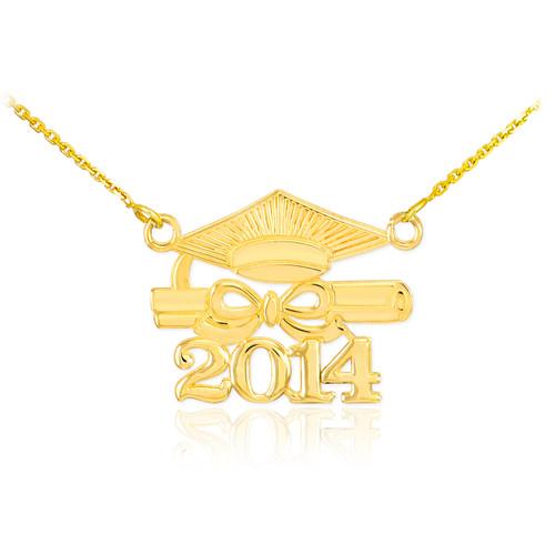 "14K Gold ""CLASS OF 2014"" Graduation Pendant Necklace"
