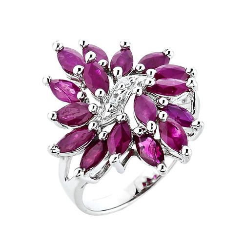 10K White Gold Genuine Ruby Ladies Ring