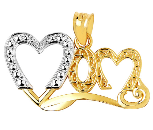 Mom heart pendant in two-tone yellow and white gold.