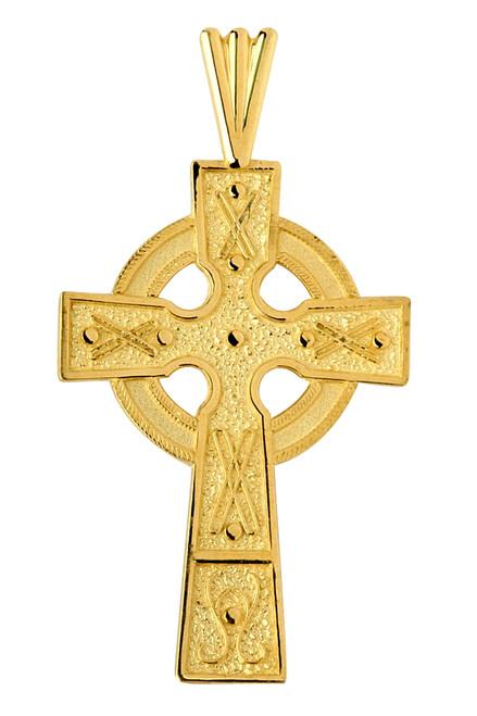 Gold Celtic Cross Medallion Pendant