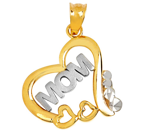 Two-tone Gold Mom Pendant