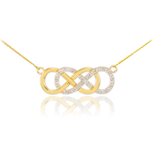 14k Gold Diamond Double Infinity Necklace