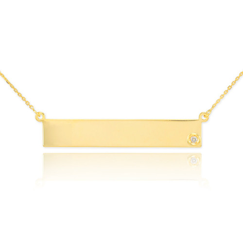 14k Gold Engravable Name Bar Necklace with Diamond