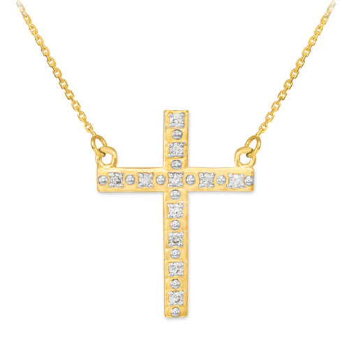 14k Gold Cross Necklace with Diamonds