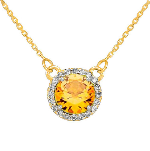 14k Gold Diamond Citrine Necklace