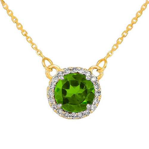 14k Gold Diamond Peridot Necklace