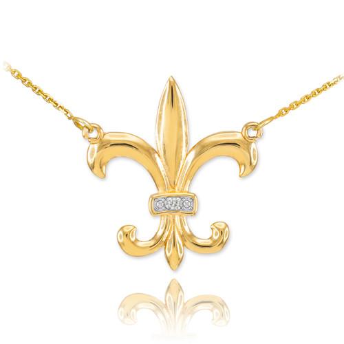 14k Gold Diamond Fleur-de-Lis Necklace