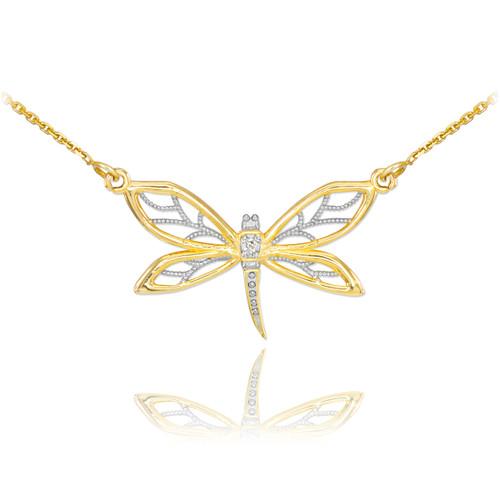 14k Gold Diamond Dragonfly Filigree Necklace