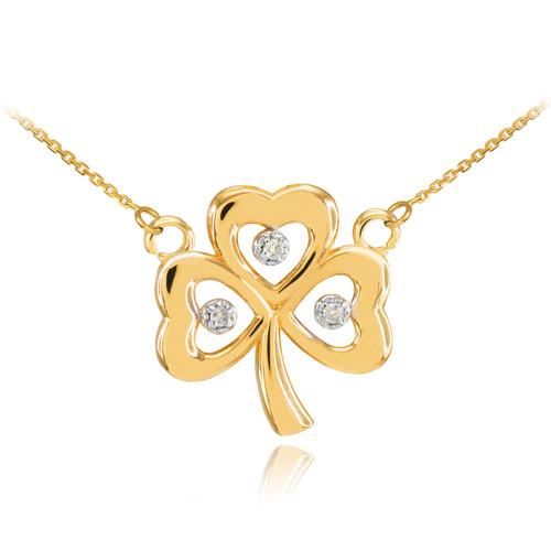 14K Gold 3-Leaf Diamond Clover Necklace