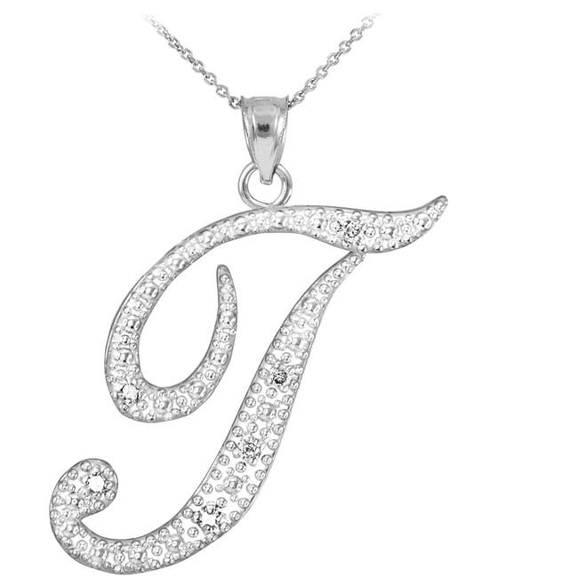 "Sterling Silver Letter Script ""T"" CZ Initial Necklace"