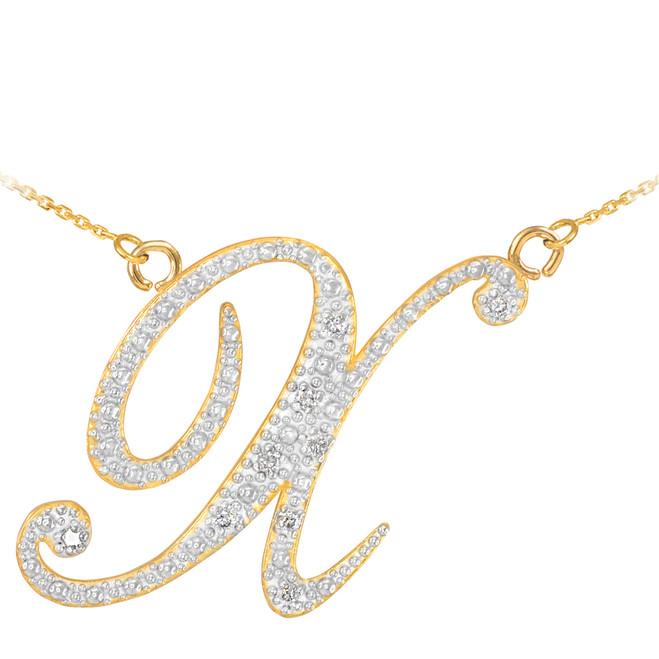 """14k Gold Letter Script """"X"""" Diamond Initial Necklace"""