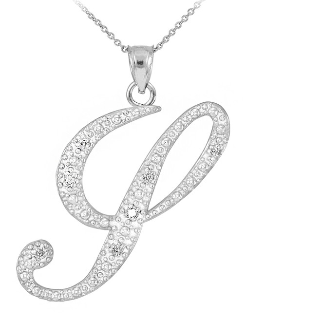 "14k White Gold Letter Script ""Y"" Diamond Initial Pendant Necklace"