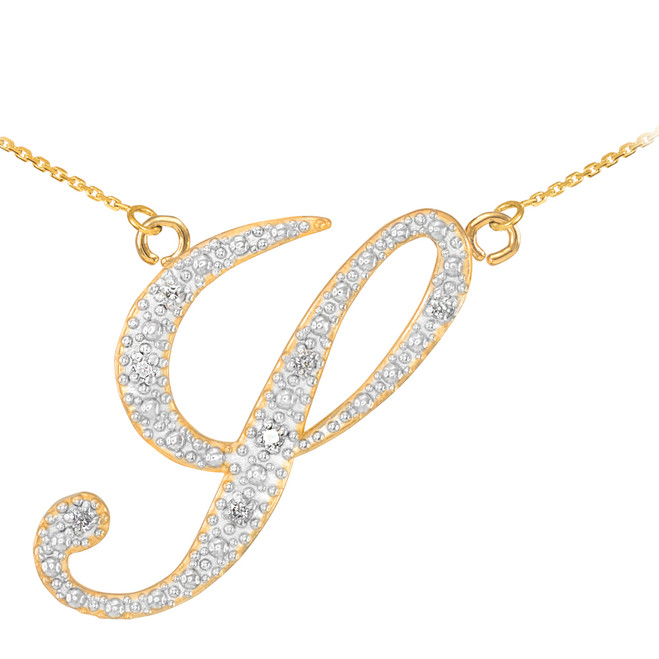 "14k Gold Letter Script ""Y"" Diamond Initial Necklace"