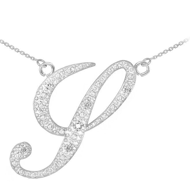 "14k White Gold Letter Script ""Y"" Diamond Initial Necklace"
