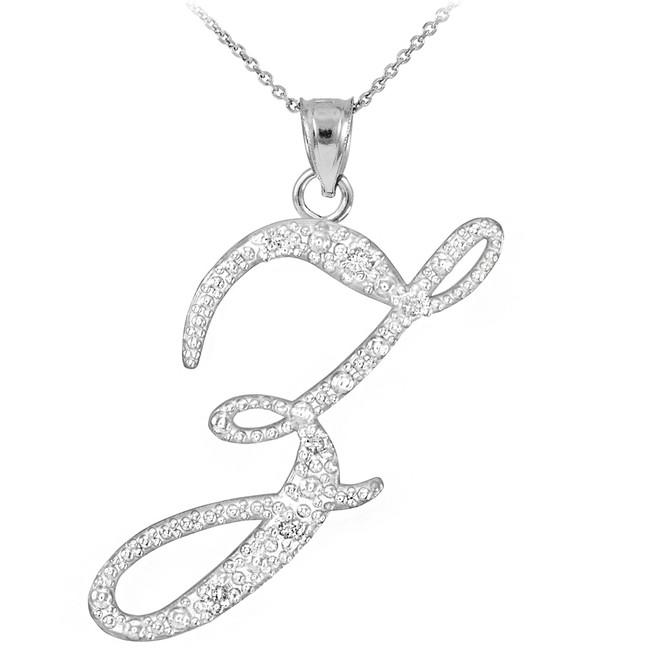 "Sterling Silver Letter Script ""Z"" CZ Initial Necklace"