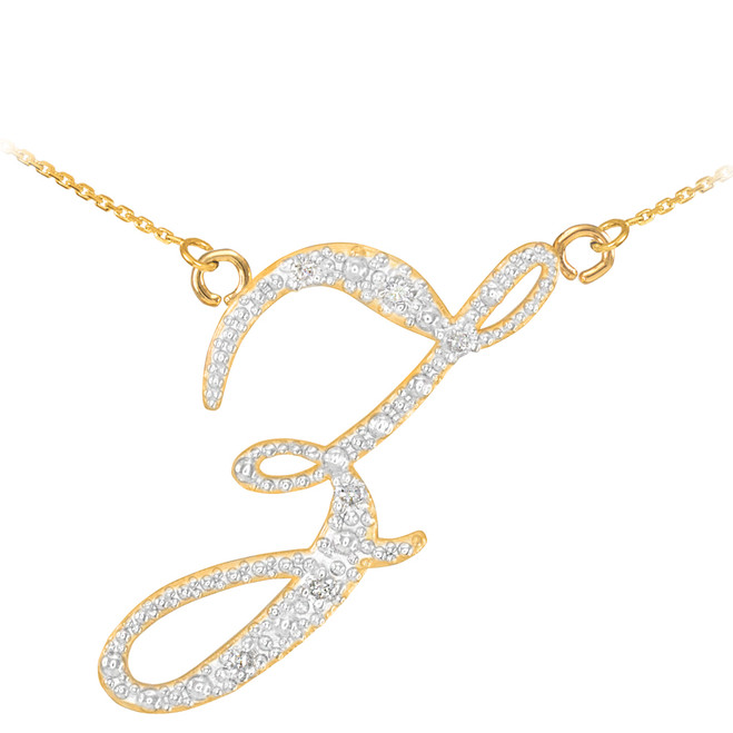 "14k Gold Letter Script ""Z"" Diamond Initial Necklace"
