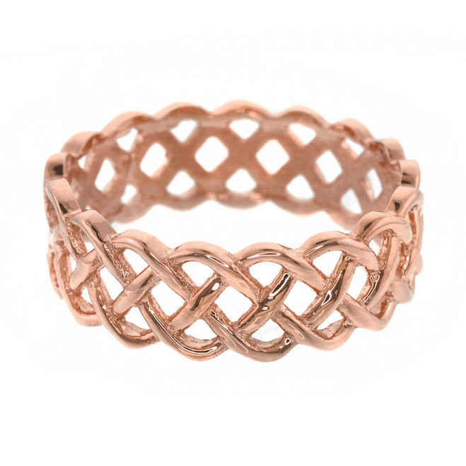 14k Rose Gold Celtic Weave Wedding Band