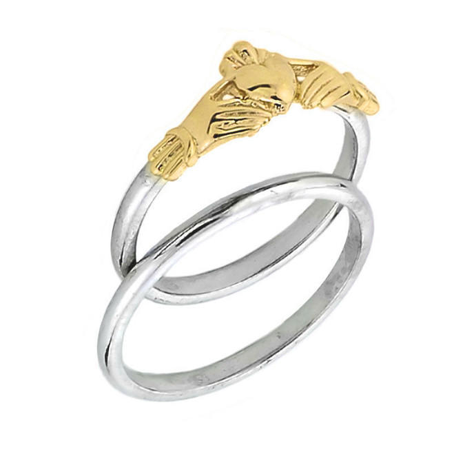 Two Tone Yellow Gold Claddagh Engagemet Ring Set