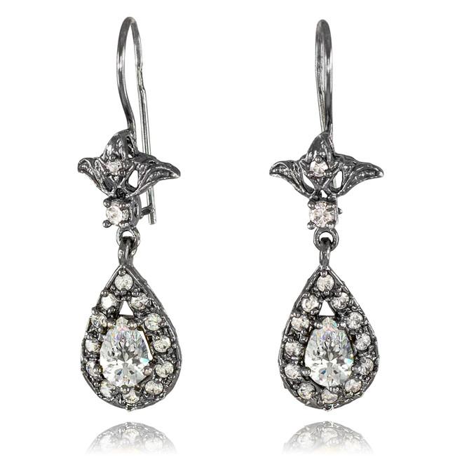 Black Silver Teardrop Clear CZ Earrings