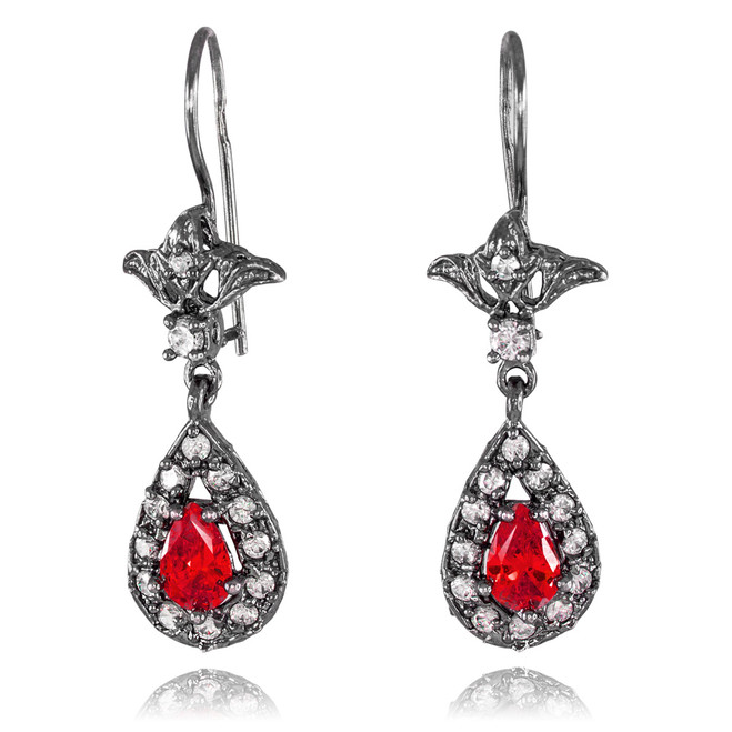Black Silver Teardrop Ruby CZ Earrings