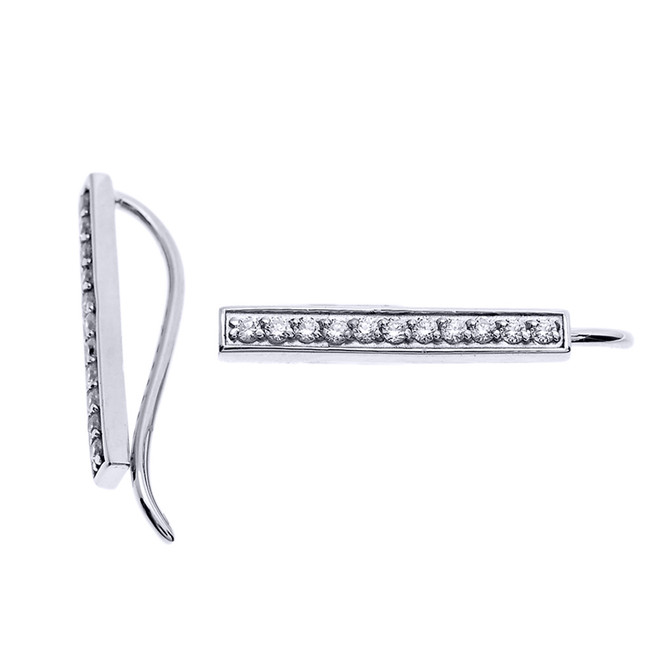 14k White Gold Diamond Vertical Bar Ear Cuffs