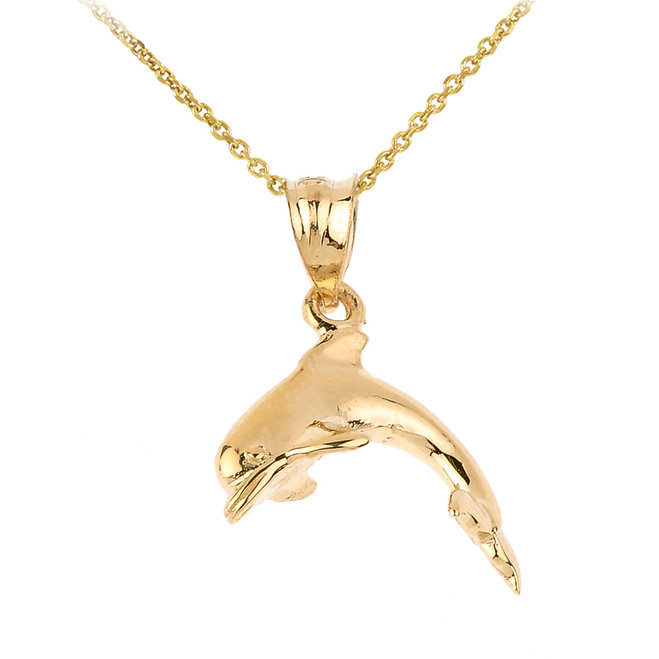 Shining Solid Gold Dolphin Charm Pendant Necklace