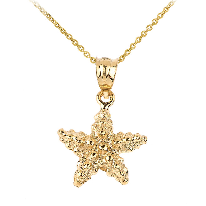 Yellow Gold Sea Star Charm Pendant Necklace