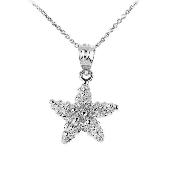 Sterling Silver Sea Star Charm Pendant Necklace