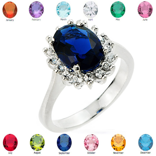 Princess White Gold Engagement Ring with CZ Birthstone