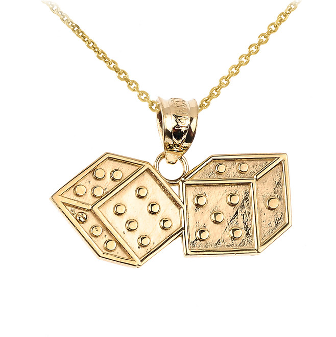 Yellow Gold Dice Pendant Necklace