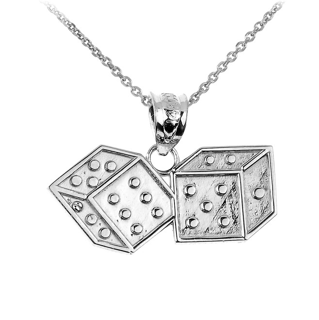 White Gold Dice Pendant Necklace