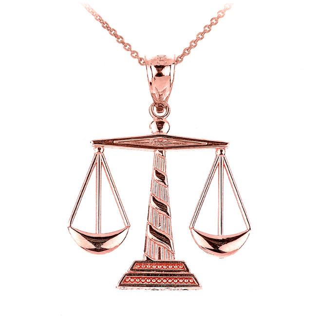 Polished Rose Gold Scales of Justice Pendant Necklace