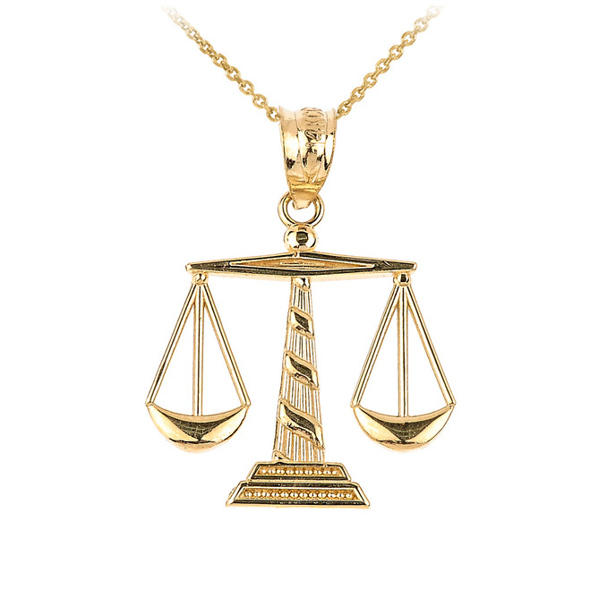 Yellow Gold Scales of Justice Pendant Necklace