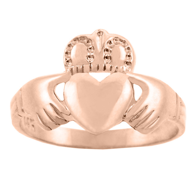 Solid Rose Gold Traditional Claddagh Ring