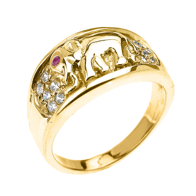 Yellow Gold White and Red CZ Elephant Ring