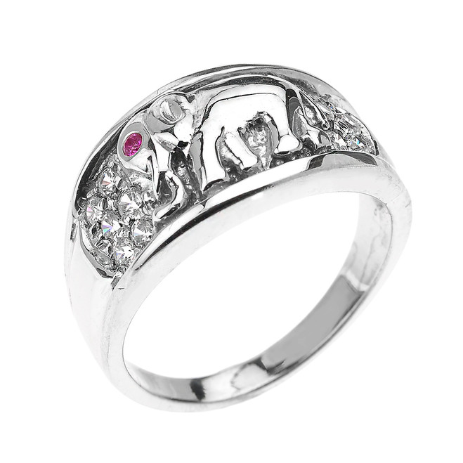 White Gold White and Red CZ Elephant Ring