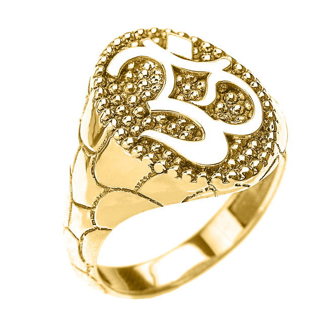 Yellow Gold Nugget Band Om/Ohm Men's Ring
