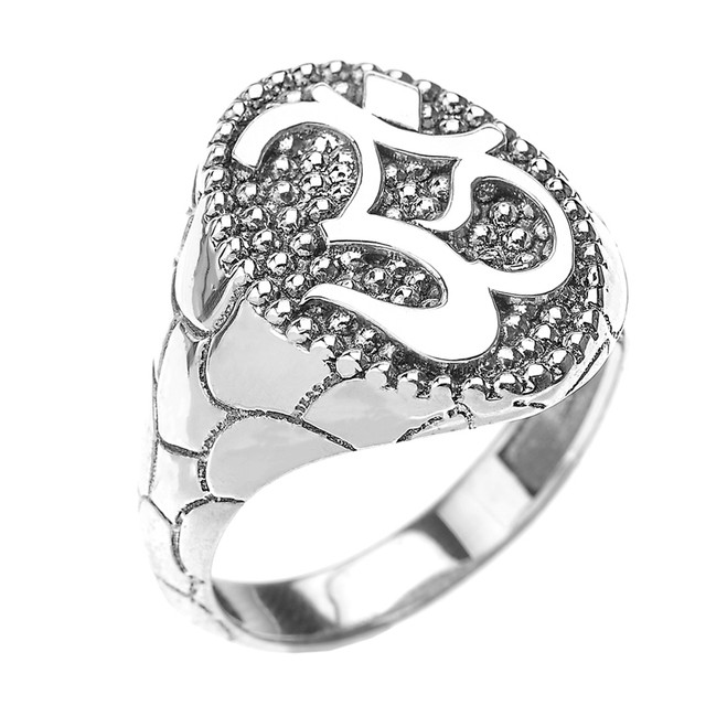 White Gold Nugget Band Om/Ohm Men's Ring