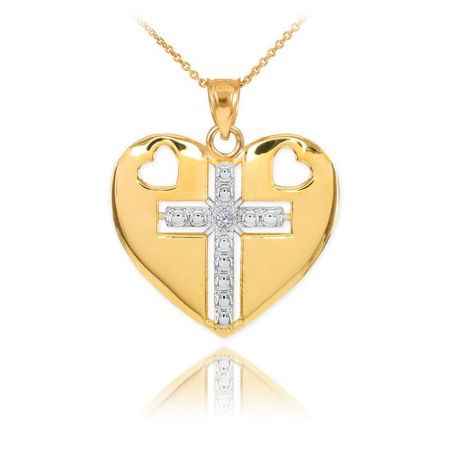 14K Two Tone Gold Heart Cross Diamond Pendant Necklace